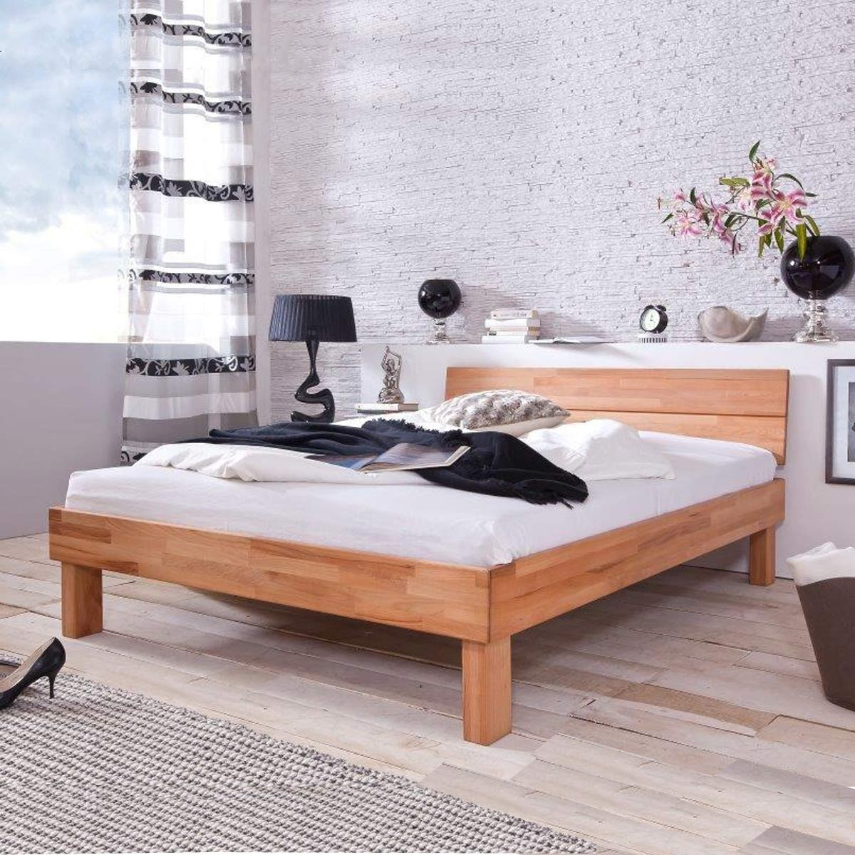 holzbett massivholzbett doppelbett bett massiv 180 x 200 cm in kernbuche ge lt ebay. Black Bedroom Furniture Sets. Home Design Ideas