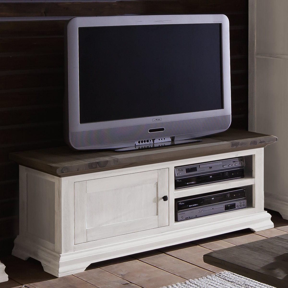 lowboard tv rack tv board akazie teilmassiv weiss und kolonial ebay. Black Bedroom Furniture Sets. Home Design Ideas
