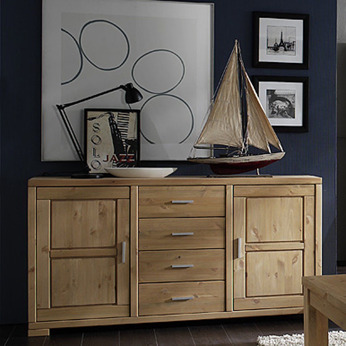 Sideboard kommode anrichte schrank kiefer massiv for Sideboard kiefer