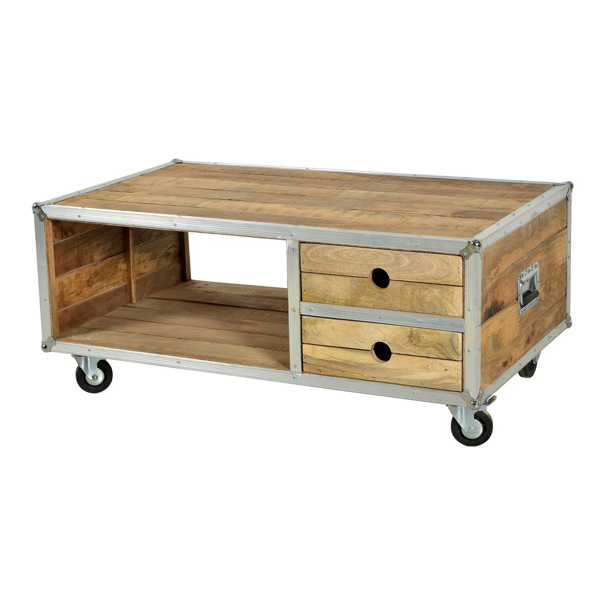 couchtisch wohnzimmertisch stubentisch auf rollen in mango massiv und aluminium ebay. Black Bedroom Furniture Sets. Home Design Ideas