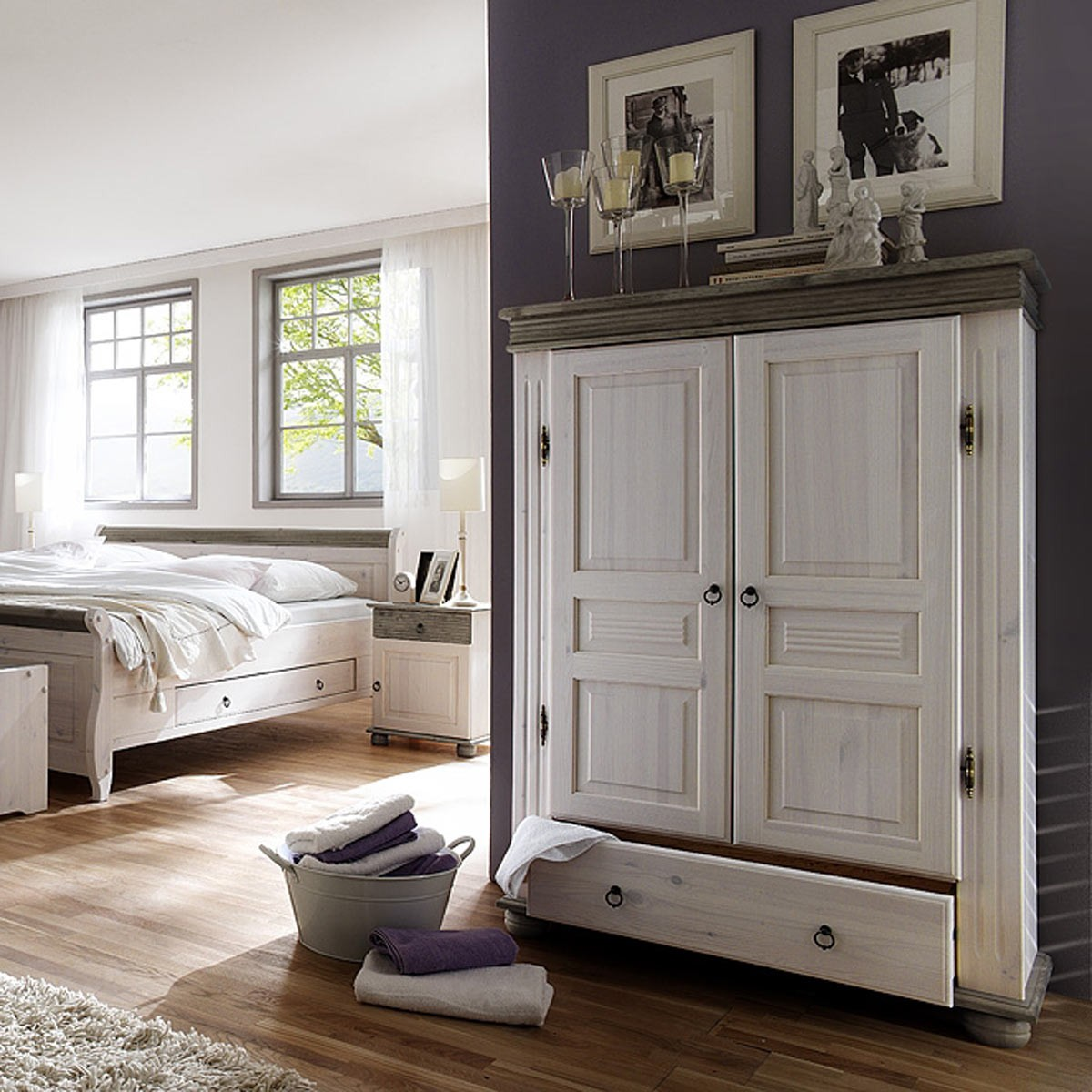 w scheschrank w schekommode w sche schrank in kiefer massiv wei lava ebay. Black Bedroom Furniture Sets. Home Design Ideas