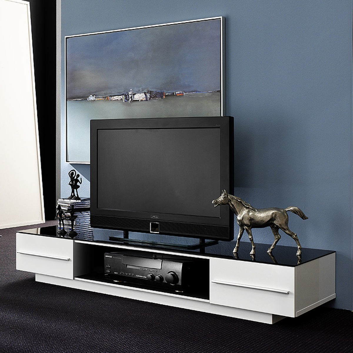 lowboard tv lowboard tv unterteil tv schrank in hochglanz wei schwarzglas ebay. Black Bedroom Furniture Sets. Home Design Ideas