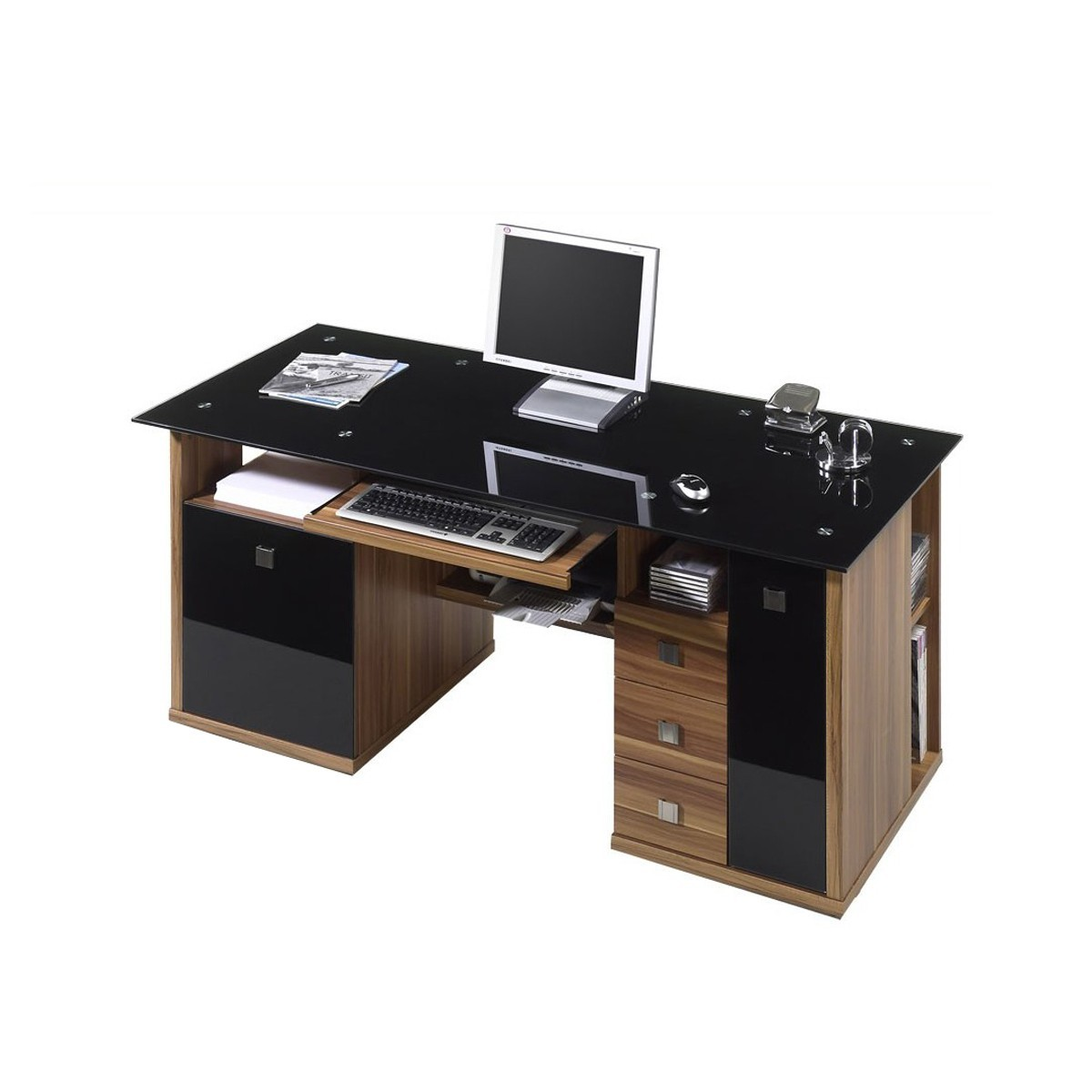 schreibtisch jenko ii in nussbaum mit schwarzglas m bel ideal online shop. Black Bedroom Furniture Sets. Home Design Ideas