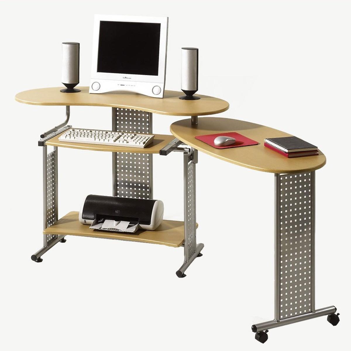 Computertisch schreibtisch mit auszug in buche nachbildung for Schreibtisch kernbuche nachbildung