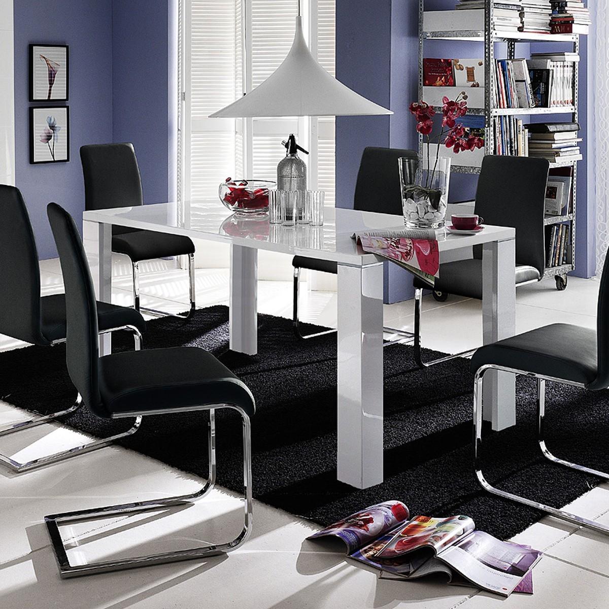 esstisch aston in wei hochglanz lackiert 140 x 90 cm. Black Bedroom Furniture Sets. Home Design Ideas