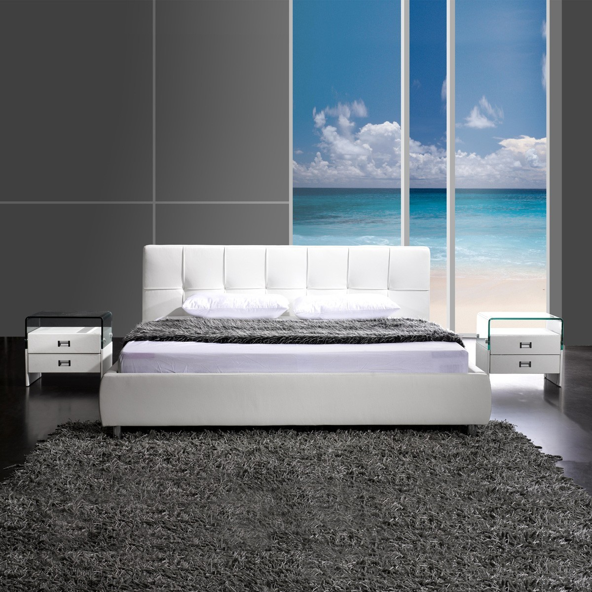 polsterbett doppelbett bett bettgestell 140x200 kunstleder wei ebay. Black Bedroom Furniture Sets. Home Design Ideas