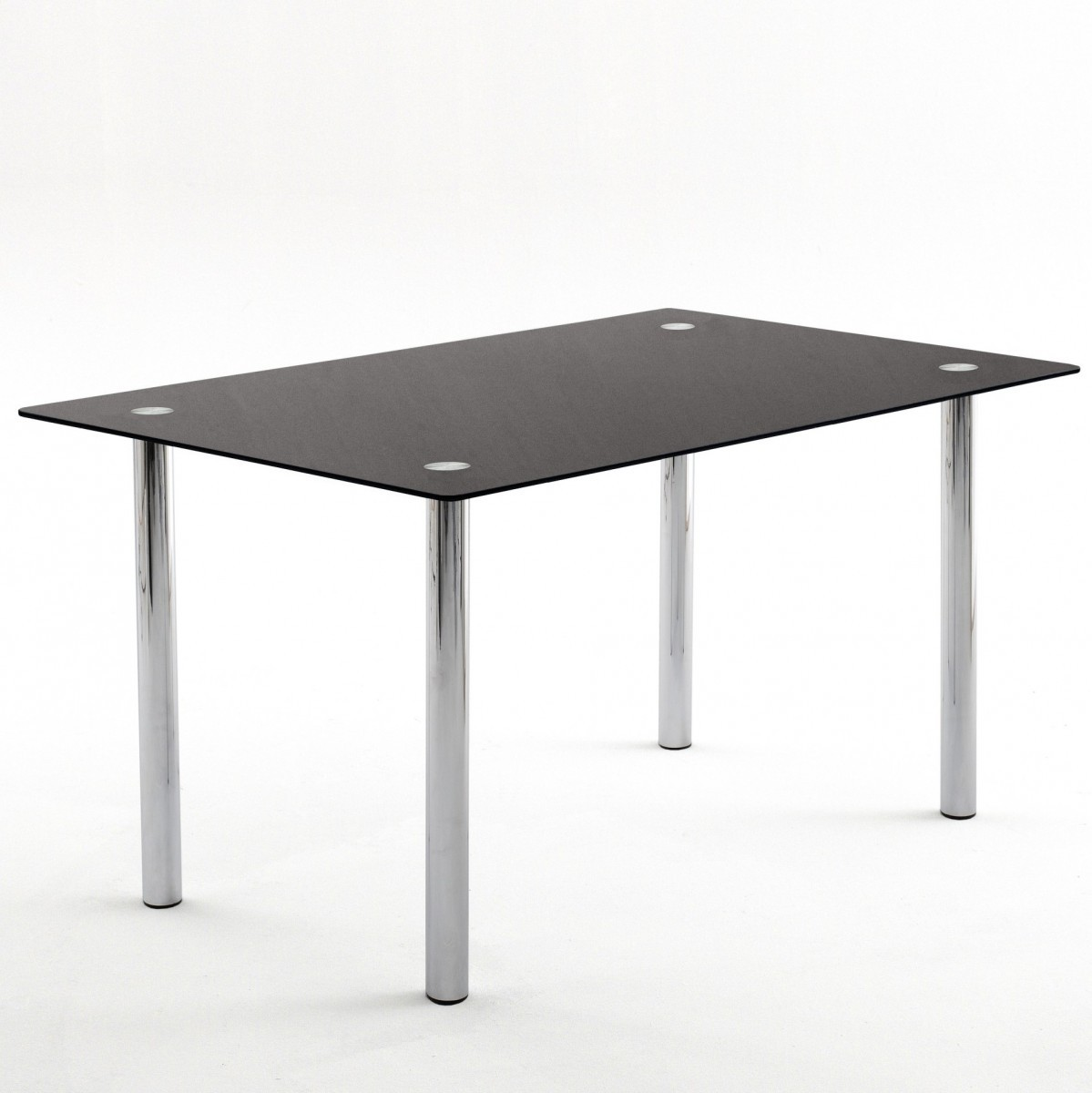 glastisch esstisch tisch k chentisch silver in schwarzglas chrom 150cmx90cm ebay. Black Bedroom Furniture Sets. Home Design Ideas