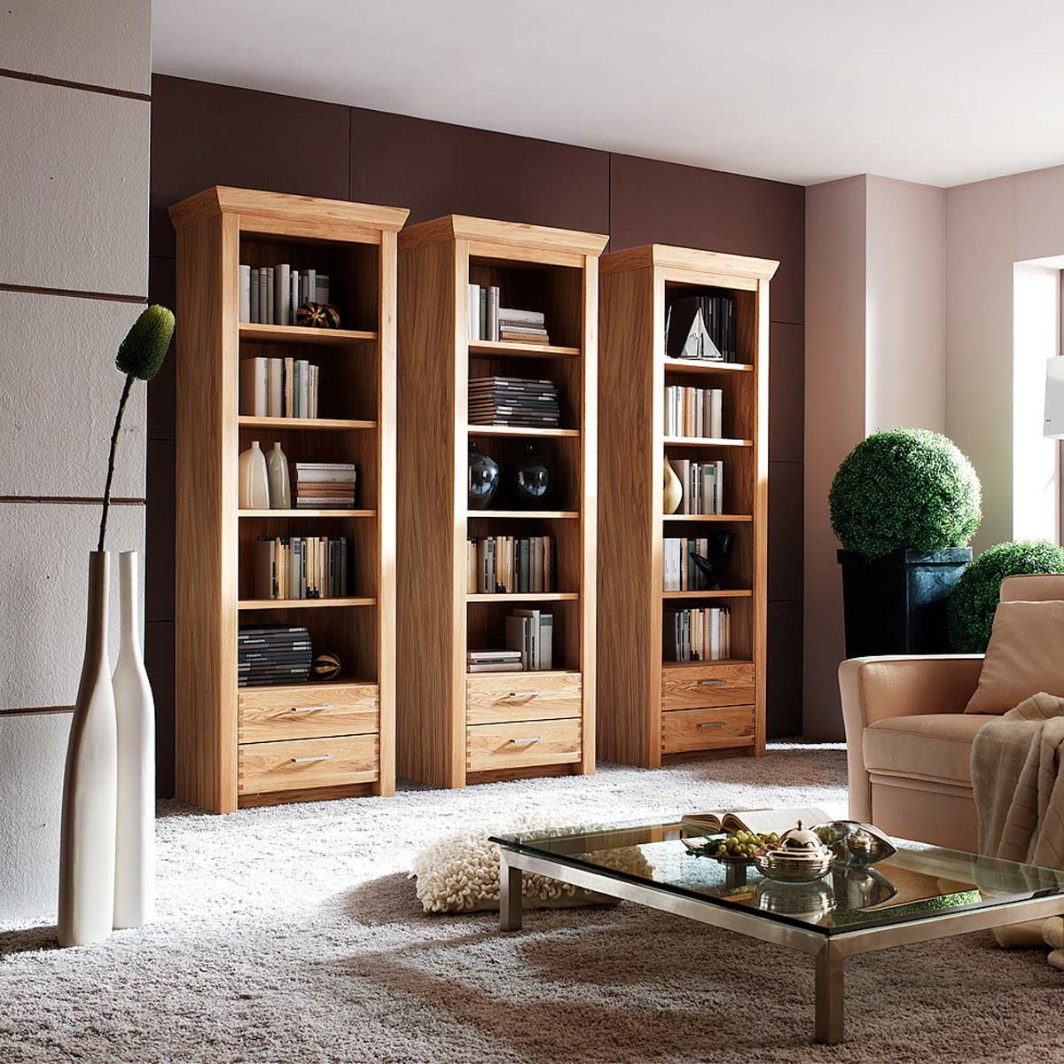 regal b cherregal standregal mit schubladen in eiche. Black Bedroom Furniture Sets. Home Design Ideas