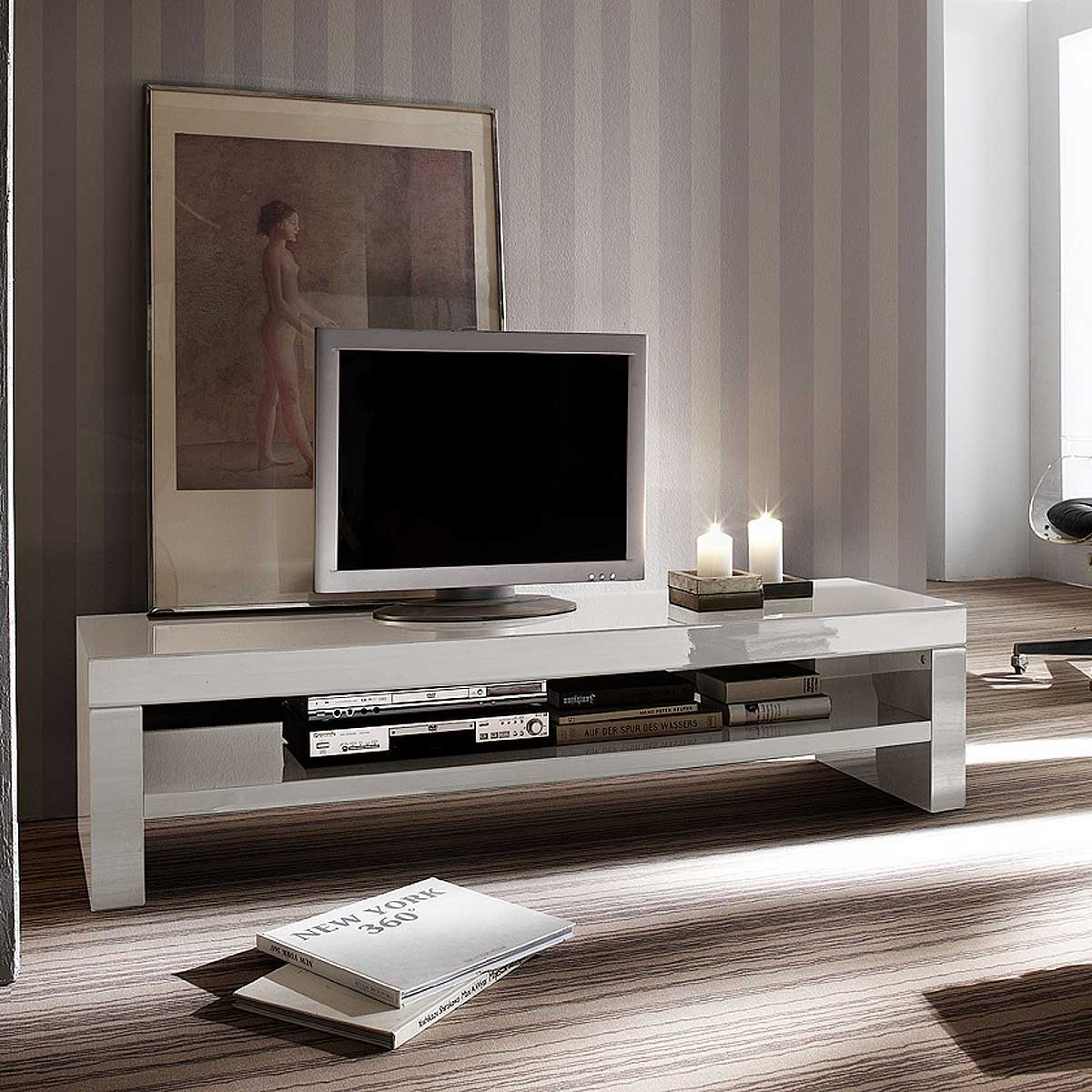 lowboard tv lowboard tv unterteil tv bank modern in hochglanz wei. Black Bedroom Furniture Sets. Home Design Ideas