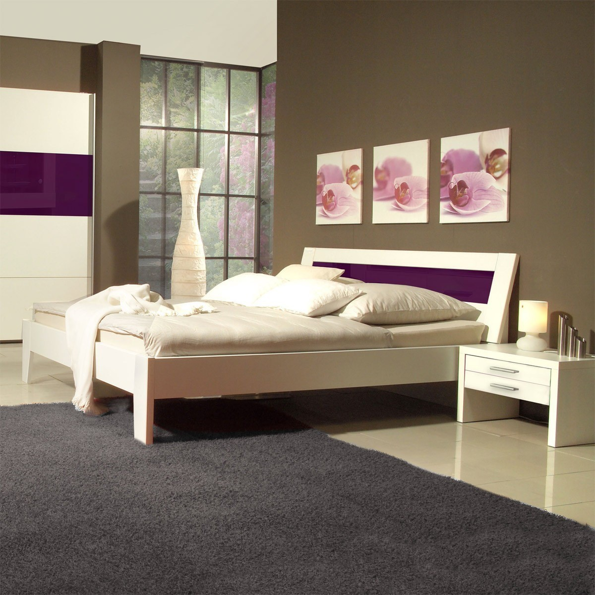 futonbett bett bettgestell 140x200 mit nachtkonsolen in wei lila ebay. Black Bedroom Furniture Sets. Home Design Ideas