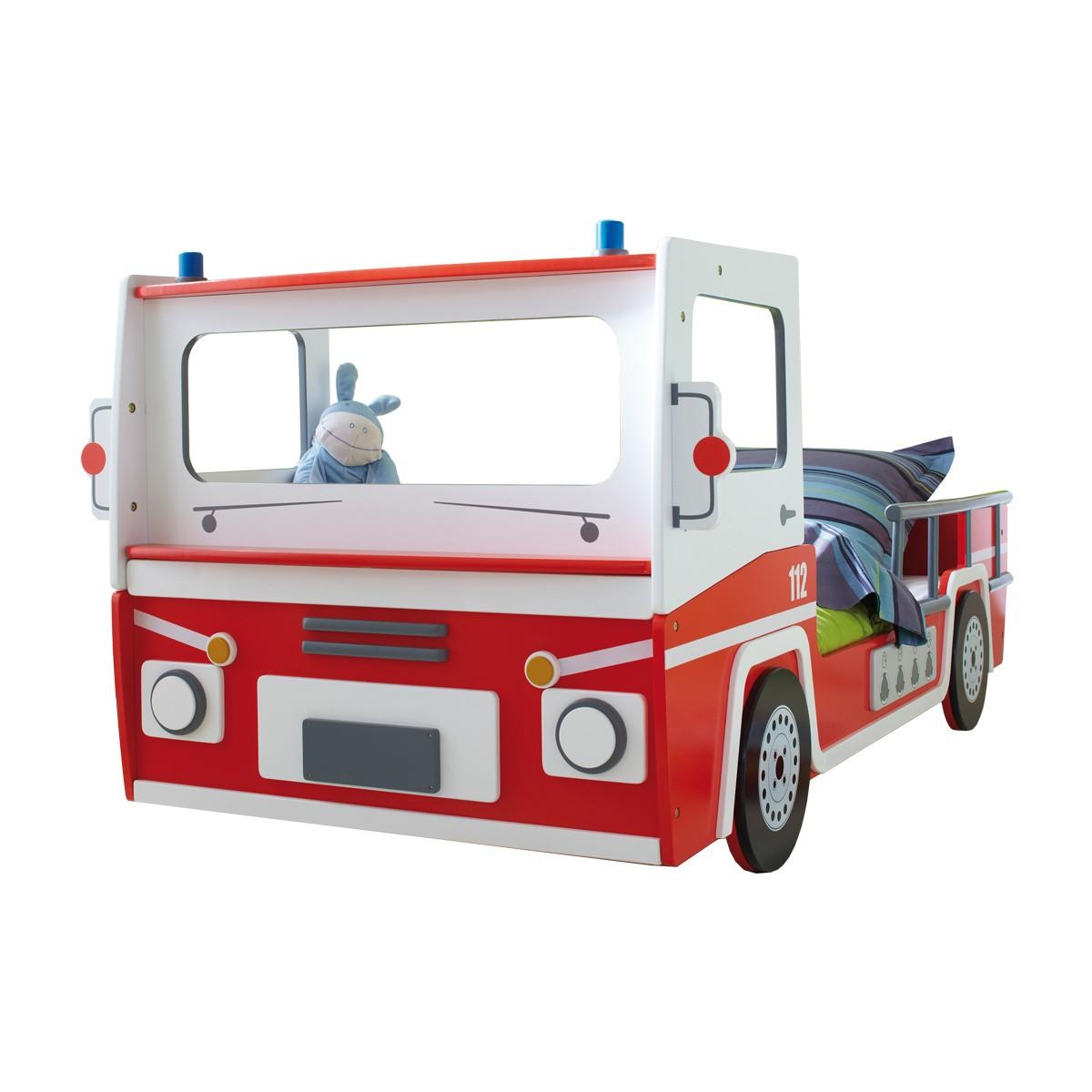 Kinderbett feuerwehr feuerwehrbett autobett spielbett in for Bett feuerwehr