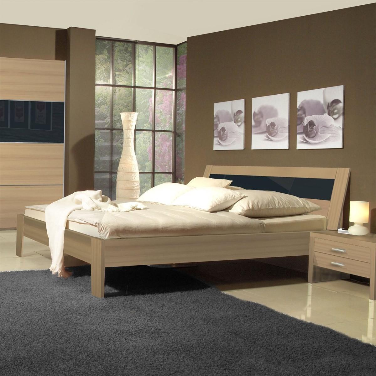 Bett doppelbett schlafzimmer inkl 2 nachtkommoden in buche und glas grau neu ebay - Schlafzimmer neu ...