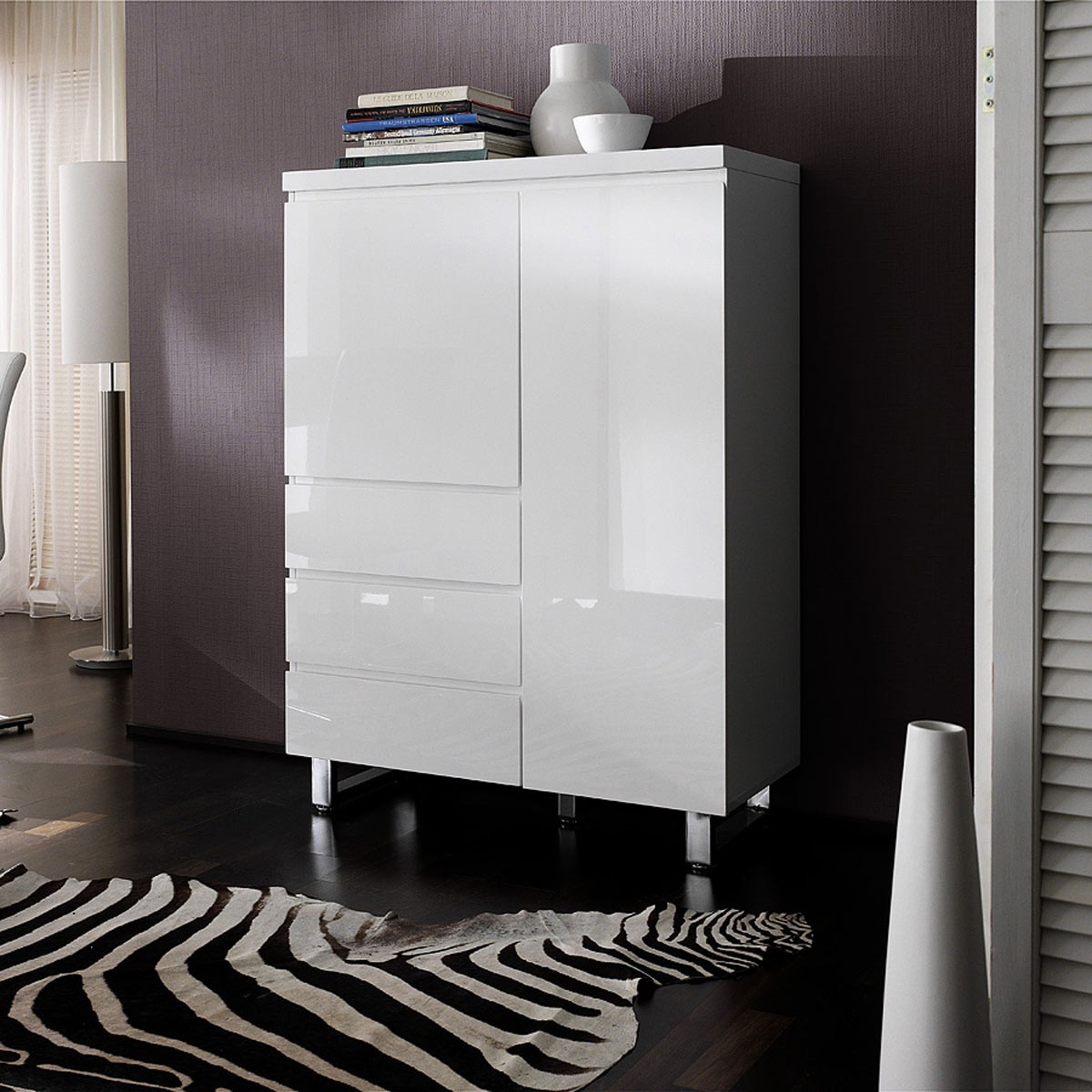 highboard sideboard anrichte kommode modern in hochglanz lack wei ebay. Black Bedroom Furniture Sets. Home Design Ideas