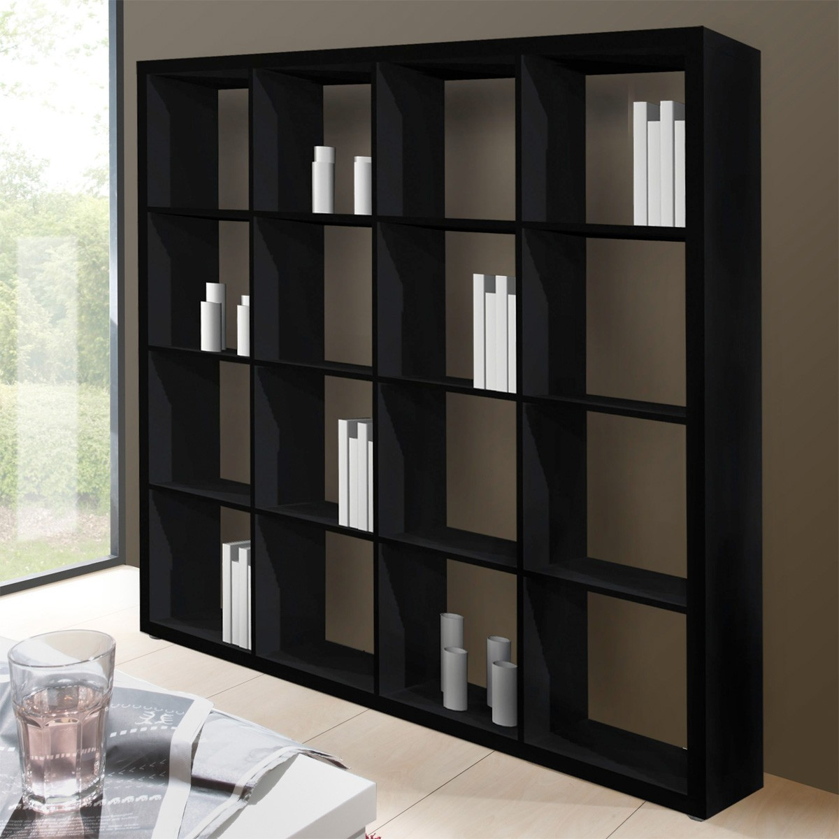 raumteiler b cherregal matrix in schwarz. Black Bedroom Furniture Sets. Home Design Ideas