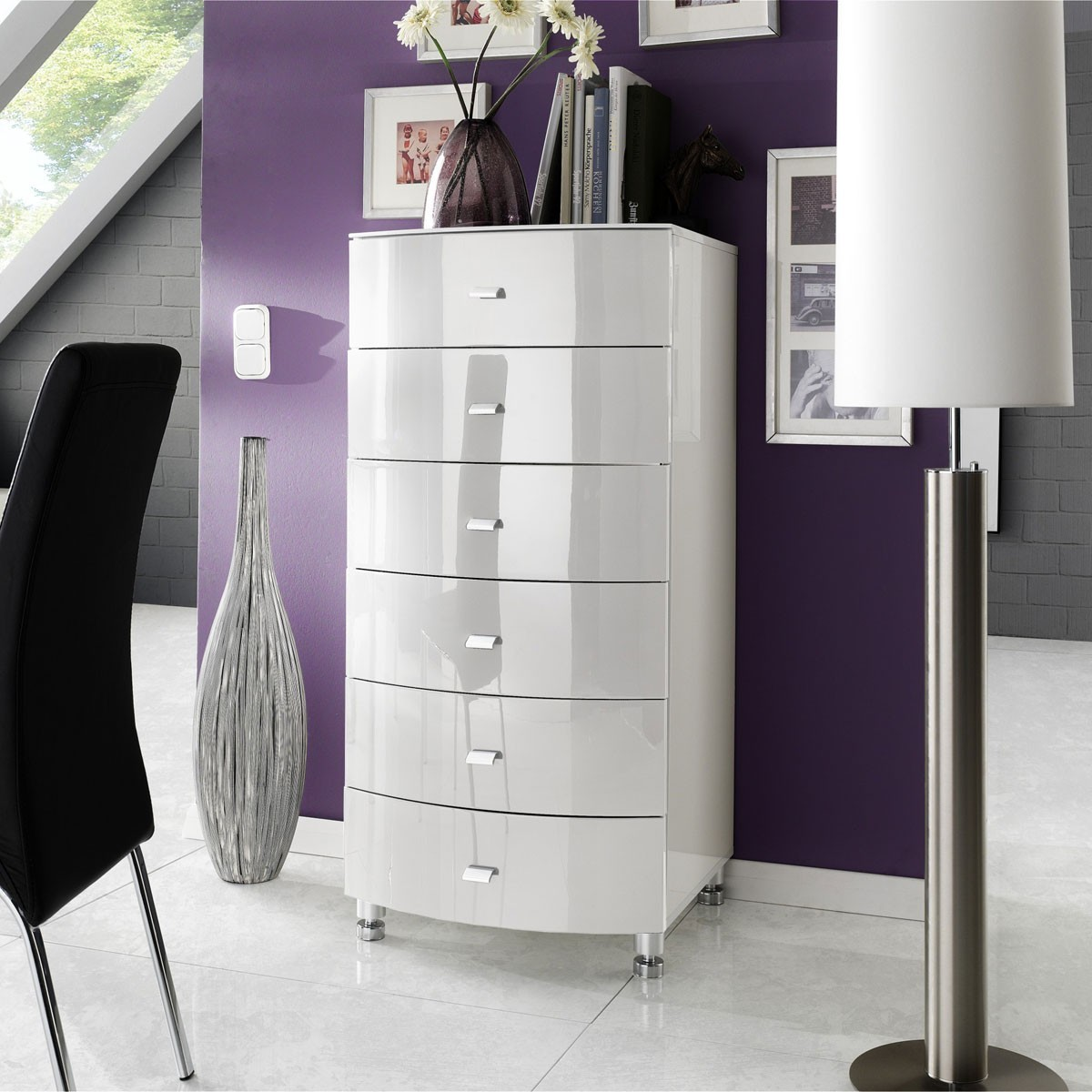kommode schubladenkommode highboard in hochglanz weiss ebay. Black Bedroom Furniture Sets. Home Design Ideas
