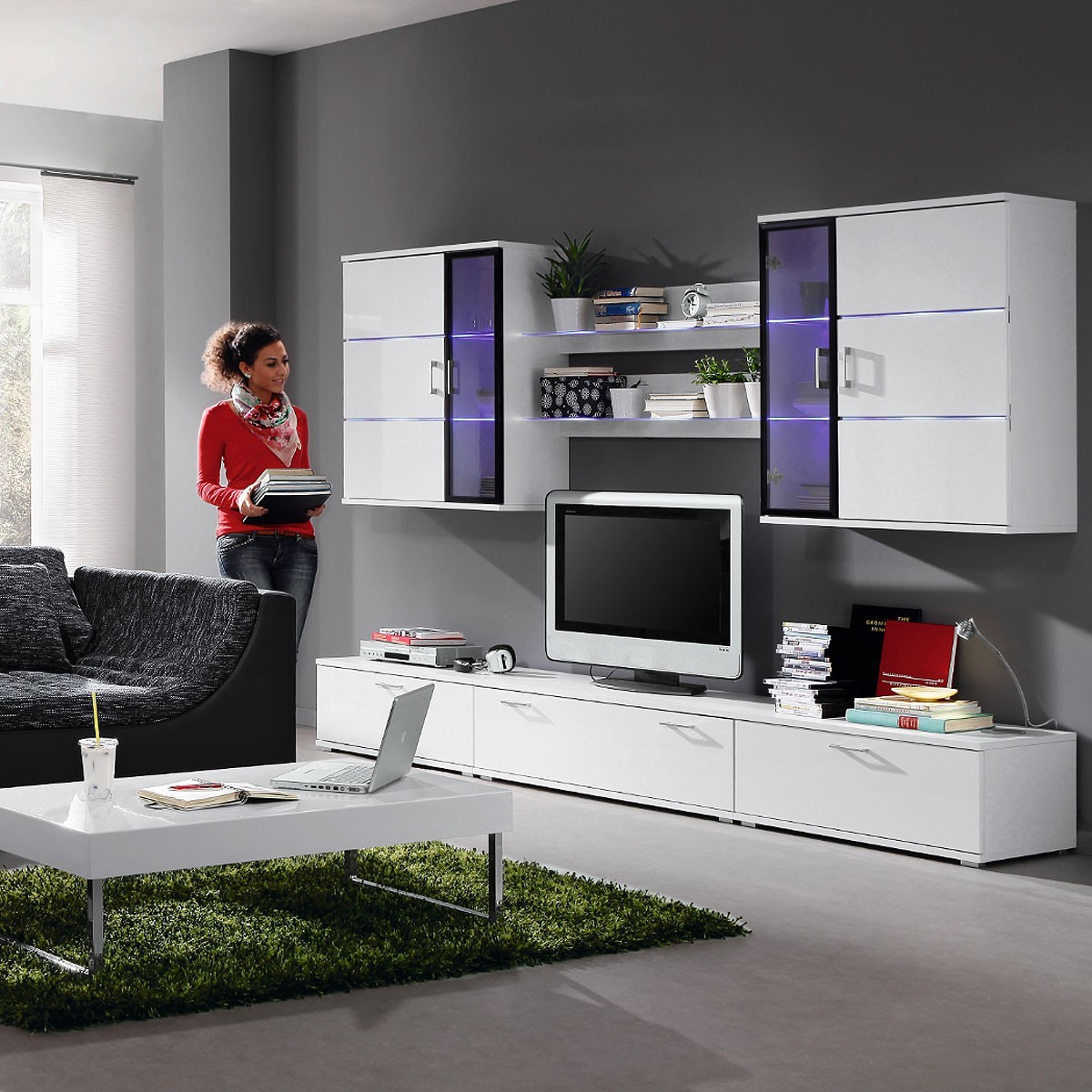 Wohnwand modern schwarz neuesten design for Anbauwand modern wohnwand