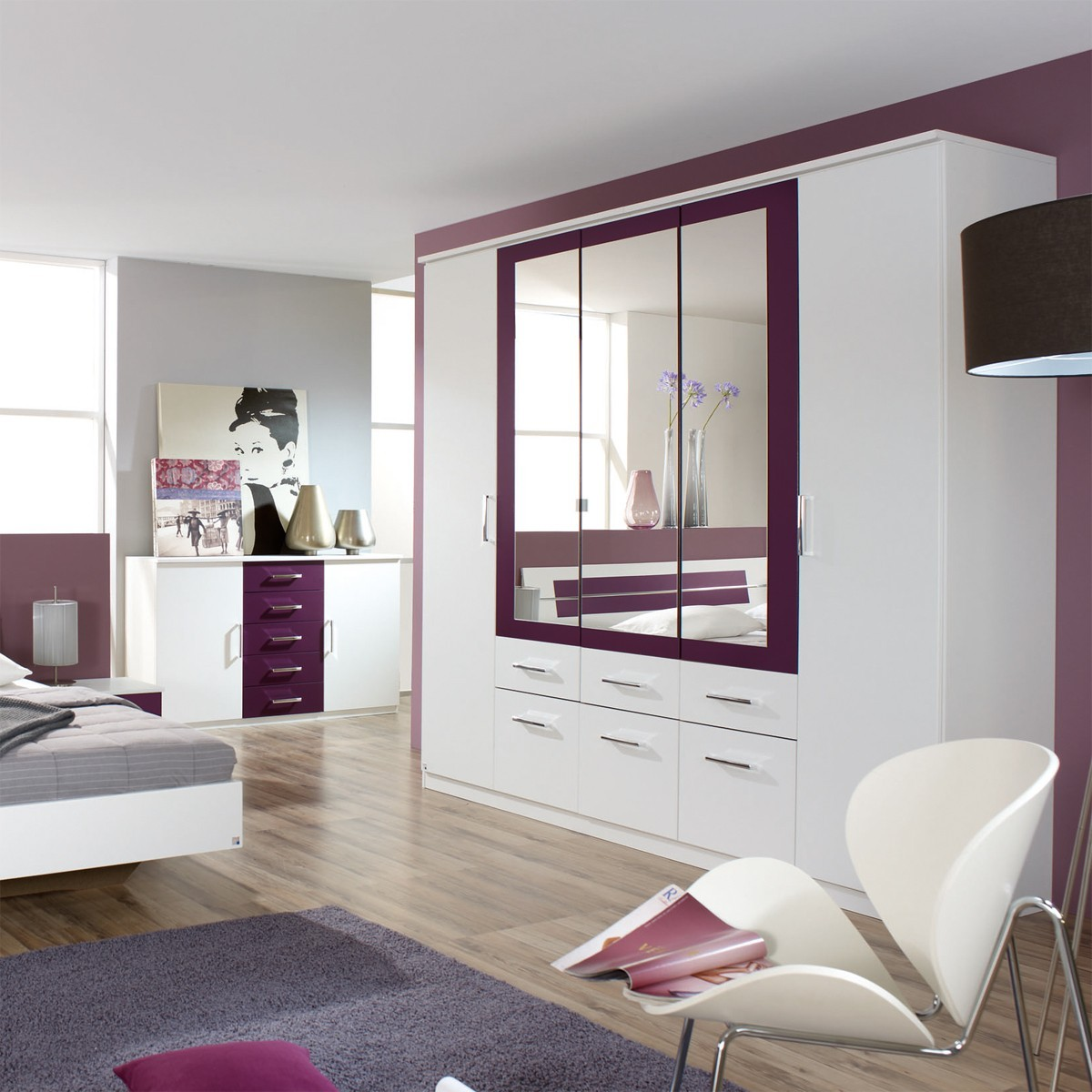 kleiderschrank schrank schlafzimmer burano wei brombeere 5 t rig ebay. Black Bedroom Furniture Sets. Home Design Ideas