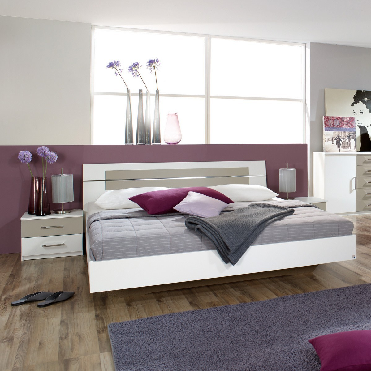 bett 160x200 doppelbett burano wei sandgrau 2x nachtkommode ebay. Black Bedroom Furniture Sets. Home Design Ideas
