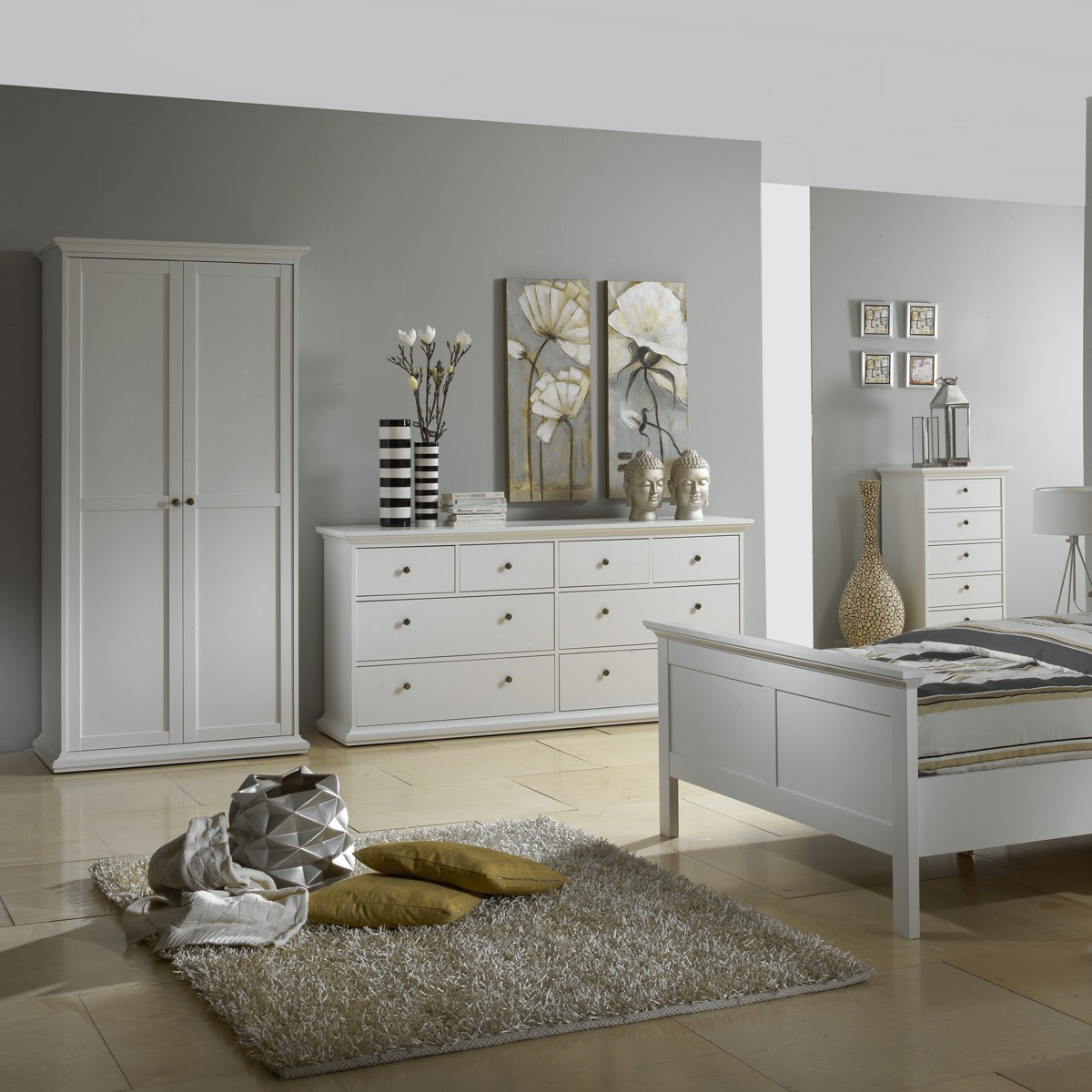 kleiderschrank schrank schlafzimmer venedig in wei holz teilmassiv ebay. Black Bedroom Furniture Sets. Home Design Ideas