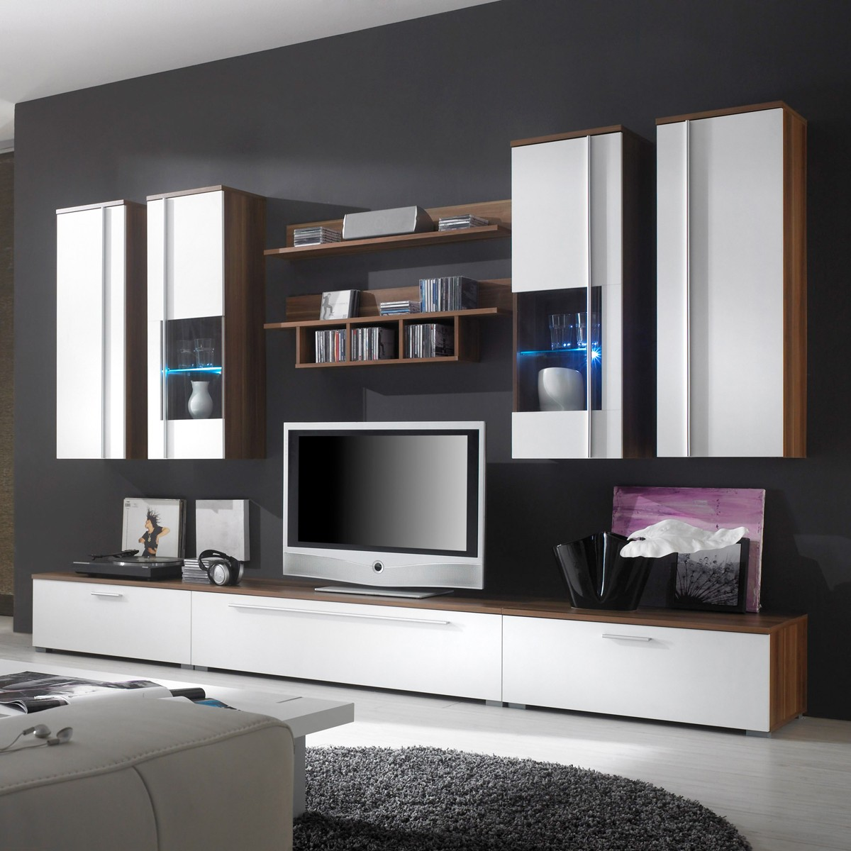 wohnwand anbauwand schrankwand bella in nussbaum wei ebay. Black Bedroom Furniture Sets. Home Design Ideas