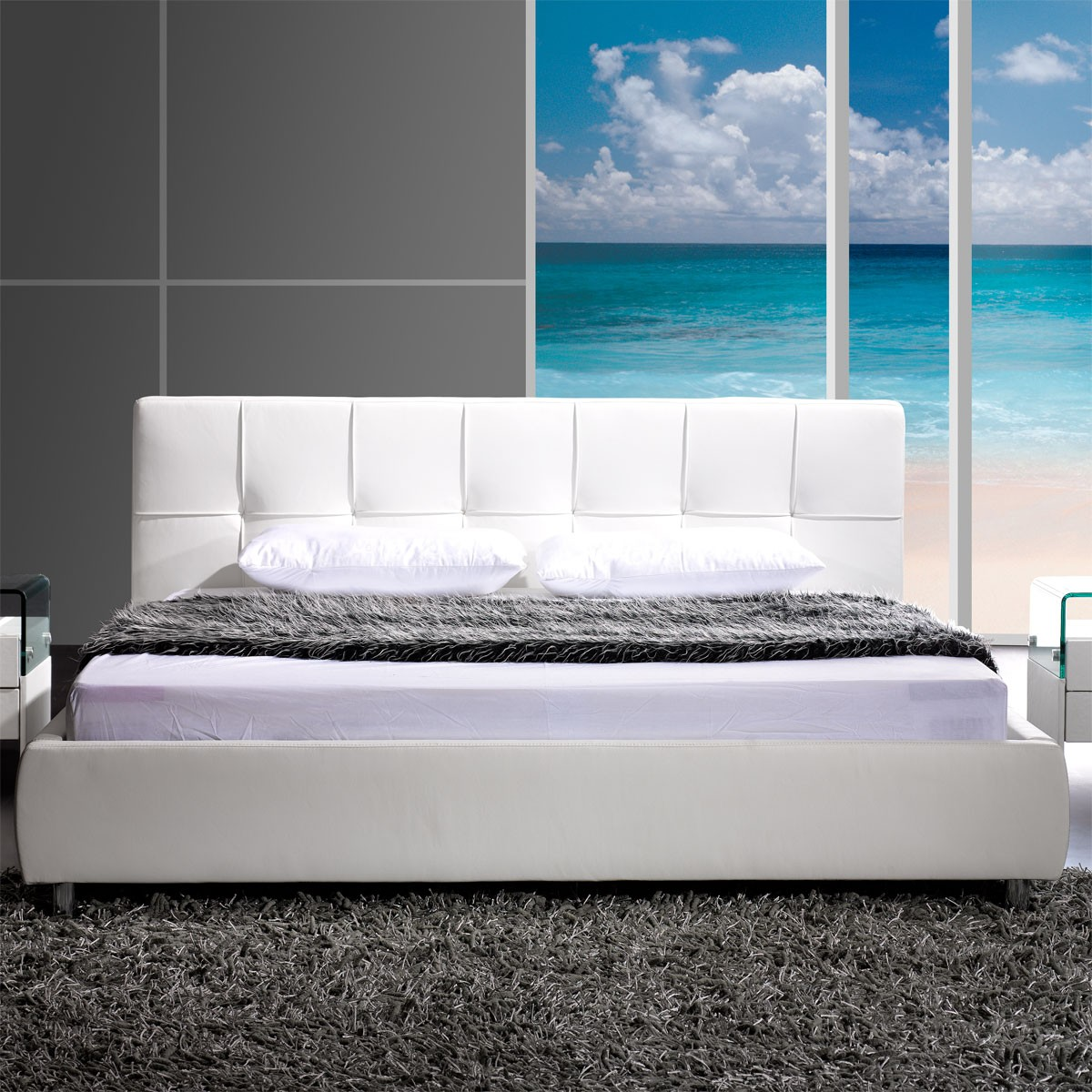polsterbett bett futonbett zarah 200 x 200 cm in kunstleder wei ebay. Black Bedroom Furniture Sets. Home Design Ideas