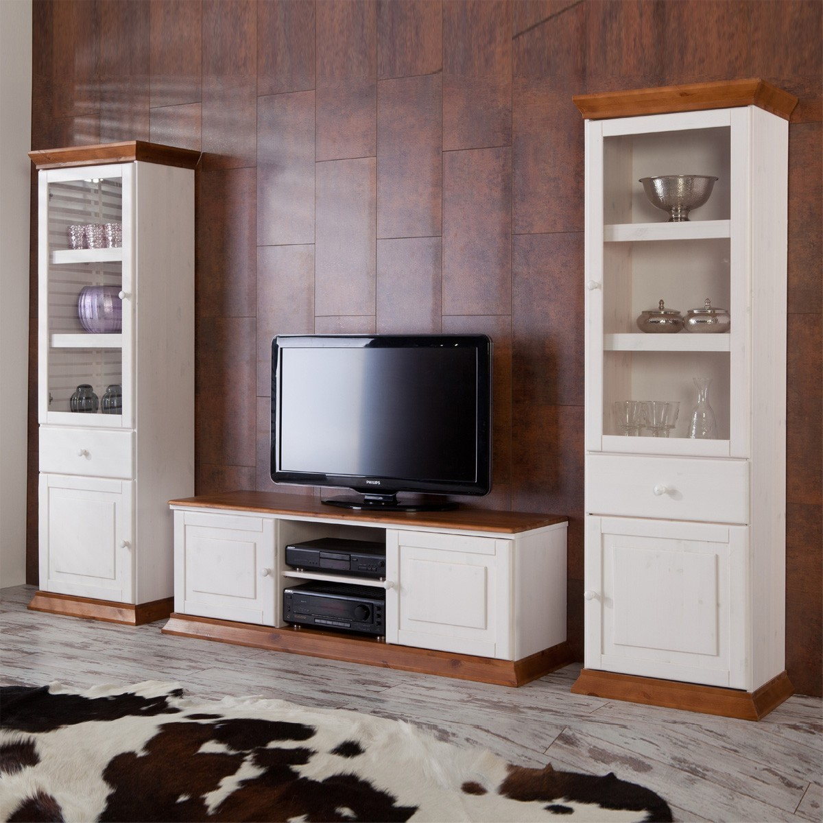 wohnwand landhaus wohnzimmer boston in wei cognac ebay. Black Bedroom Furniture Sets. Home Design Ideas