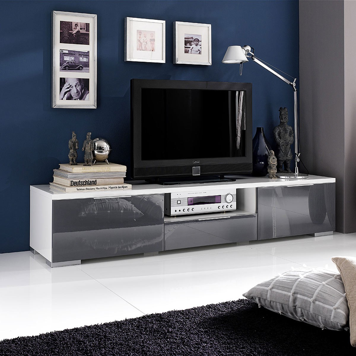 tv schrank sideboard tv lowboard in grau hochglanz 180cm. Black Bedroom Furniture Sets. Home Design Ideas