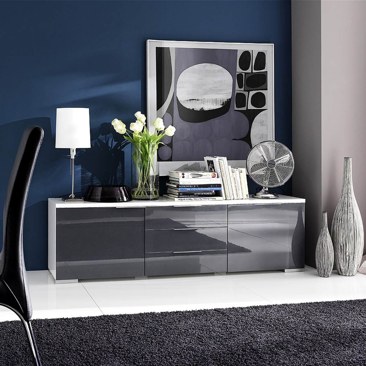 sideboard lowboard tv schranl viva in wei hochglanz. Black Bedroom Furniture Sets. Home Design Ideas