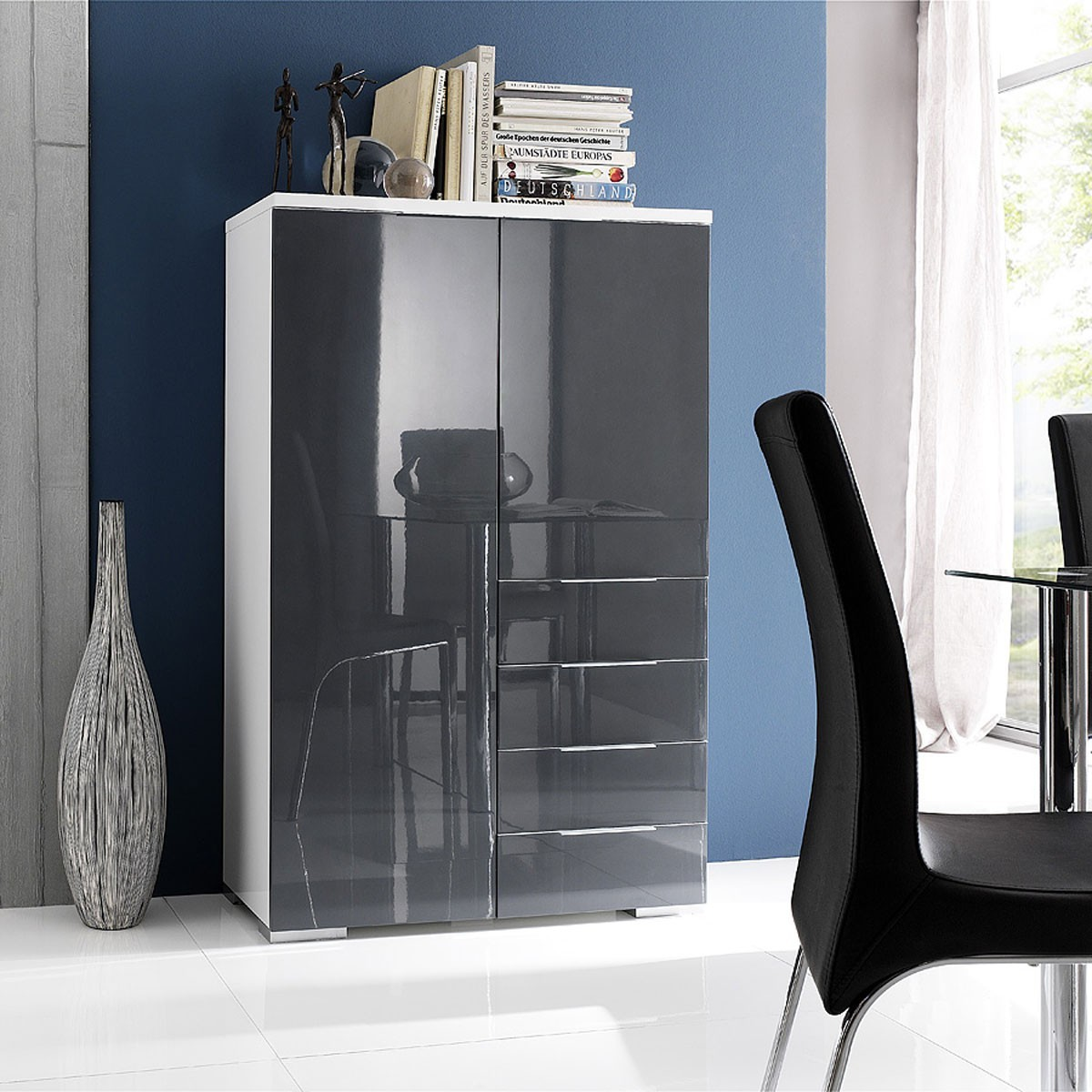 highboard kommode schrank in weiss und hochglanz grau ebay. Black Bedroom Furniture Sets. Home Design Ideas