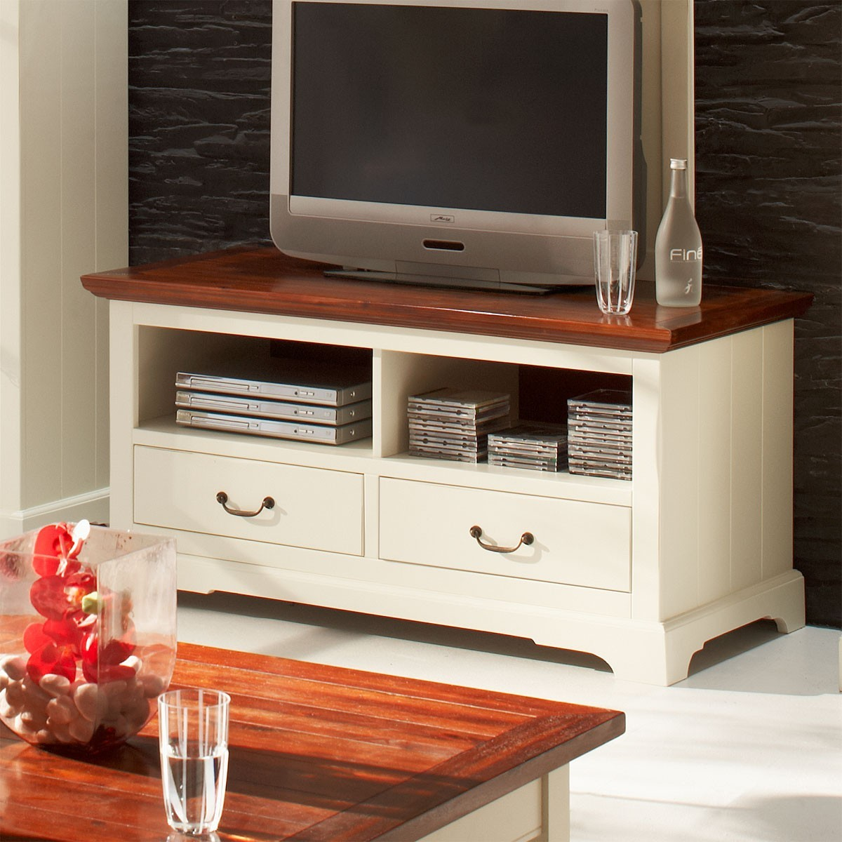 tv board lowboard unterschrank fernsehschrank akazie. Black Bedroom Furniture Sets. Home Design Ideas