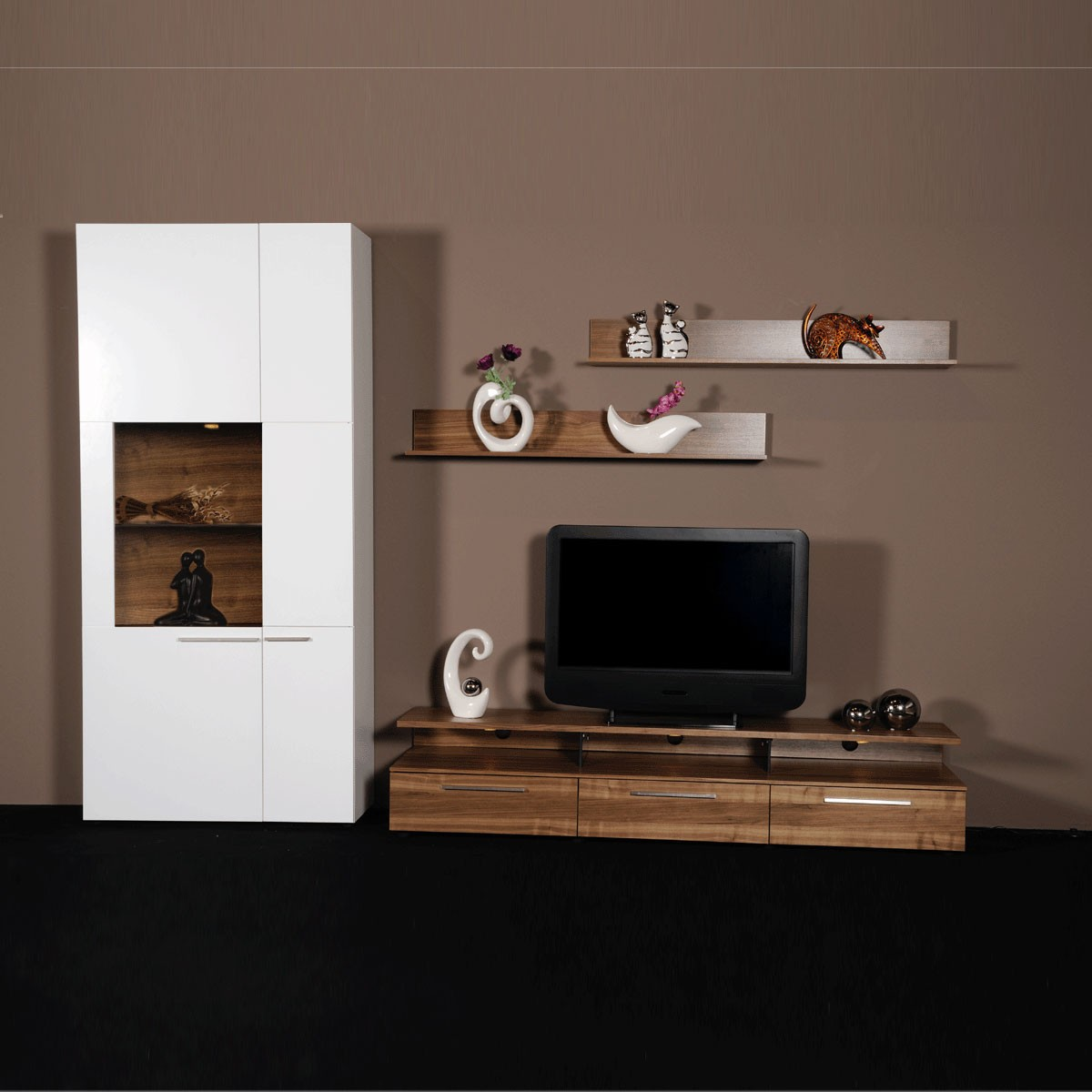 wohnwand nana in wei nussbaum ebay. Black Bedroom Furniture Sets. Home Design Ideas