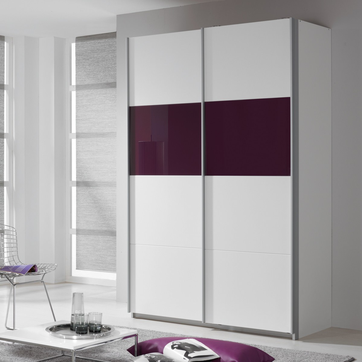 schwebet renschrank quadra in wei glas lila 136cm ebay. Black Bedroom Furniture Sets. Home Design Ideas