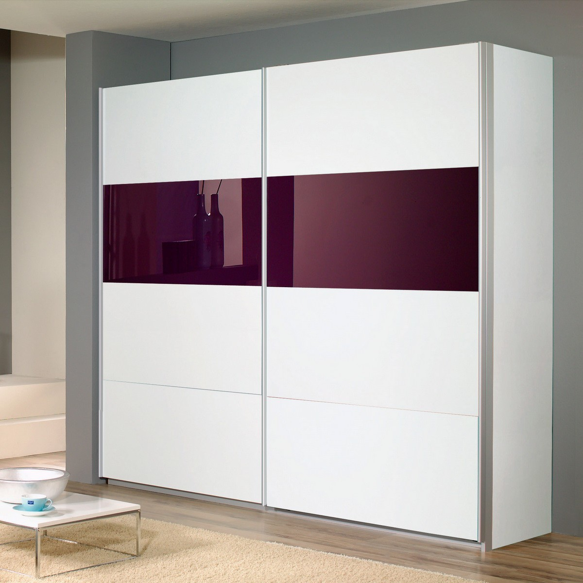 schwebet renschrank quadra in wei glas lila 271cm ebay. Black Bedroom Furniture Sets. Home Design Ideas