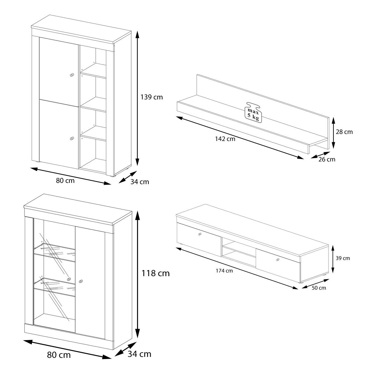 wohnwand freedom i in sonoma eiche wei. Black Bedroom Furniture Sets. Home Design Ideas