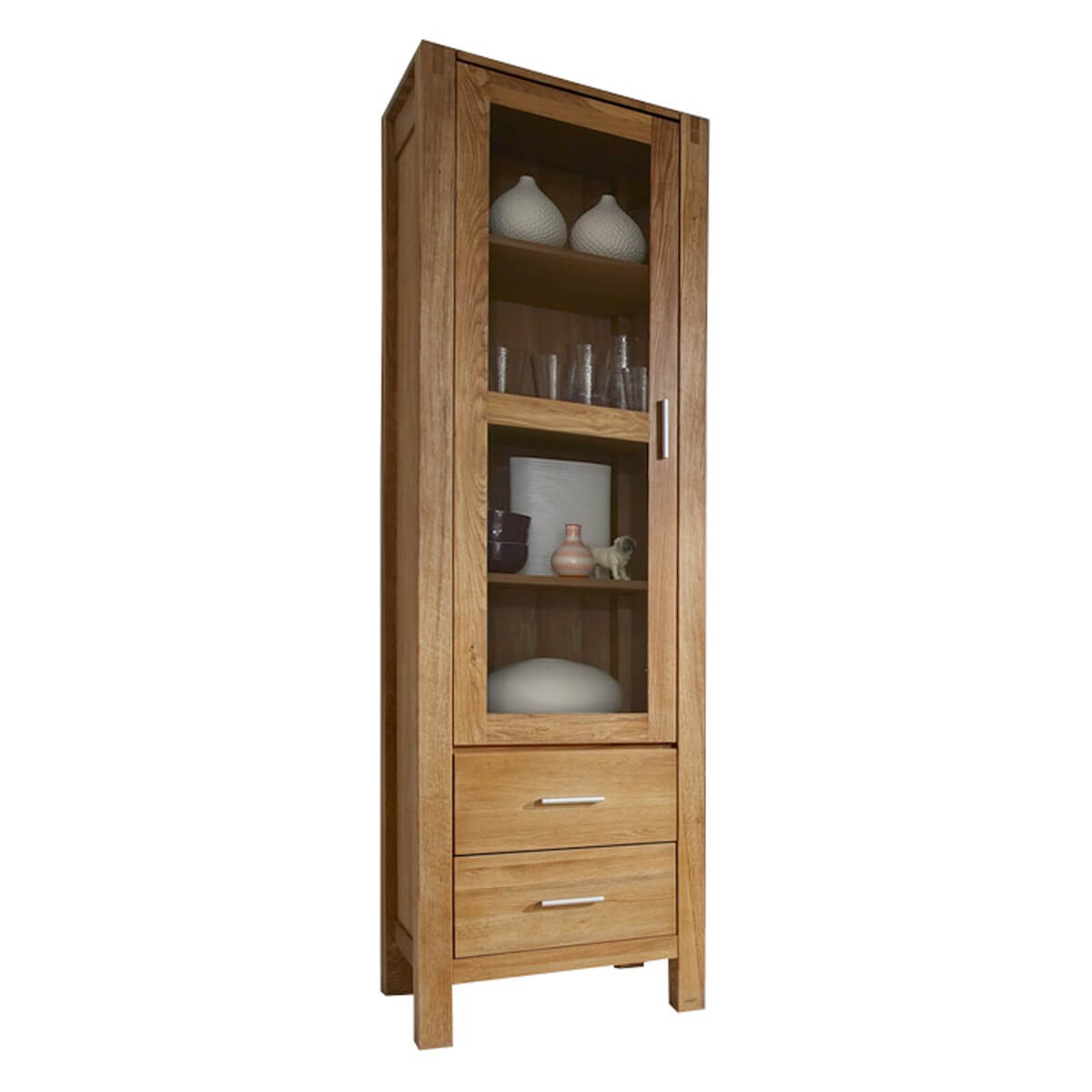 vitrine holzvitrine standvitrine vitrinenschrank holz eiche natur ge lt neu ebay. Black Bedroom Furniture Sets. Home Design Ideas