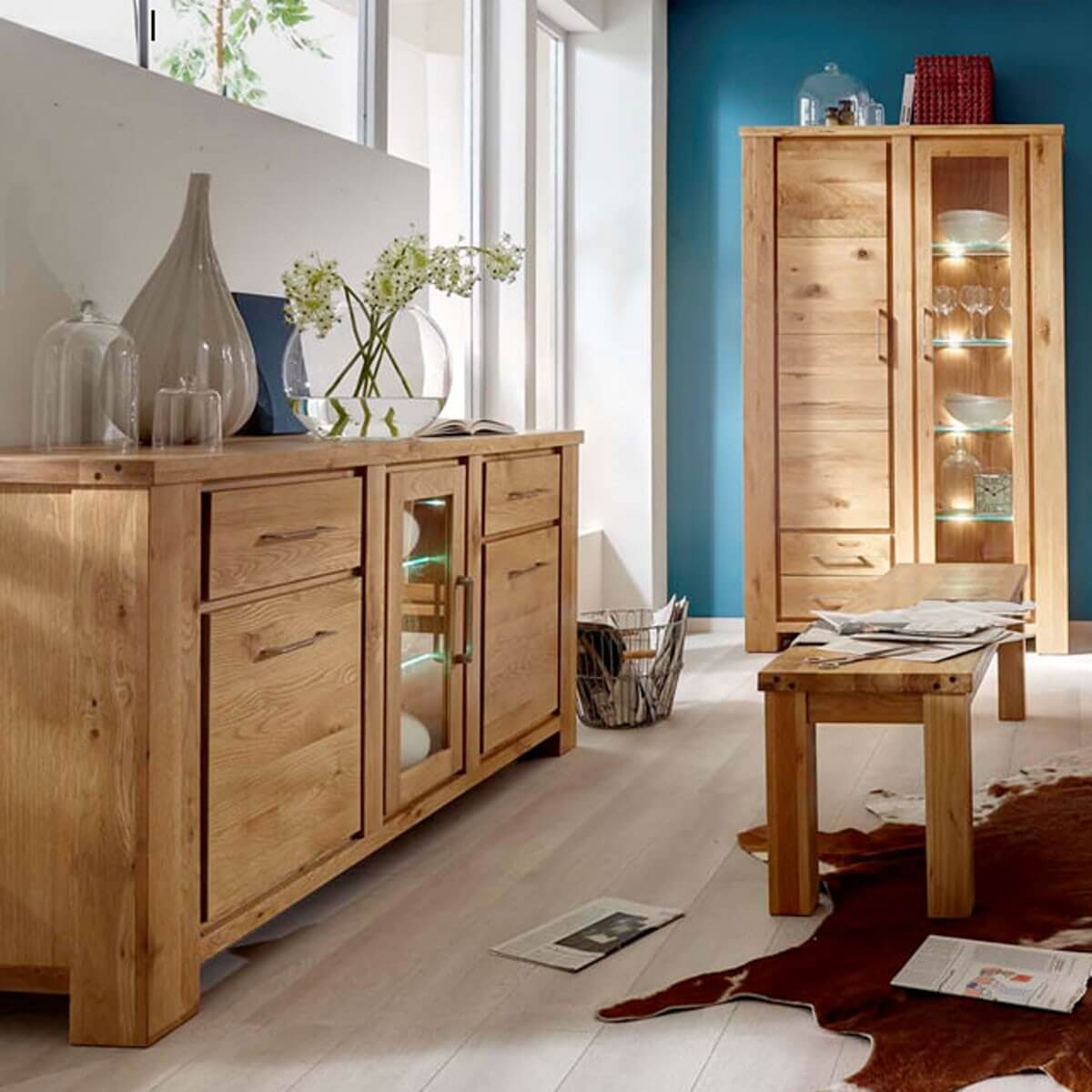 sideboard arkl nd mit beleuchtung in wildeiche teilmassiv ge lt. Black Bedroom Furniture Sets. Home Design Ideas