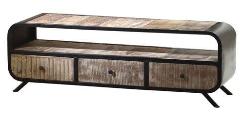 tv lowboard holz metall. Black Bedroom Furniture Sets. Home Design Ideas