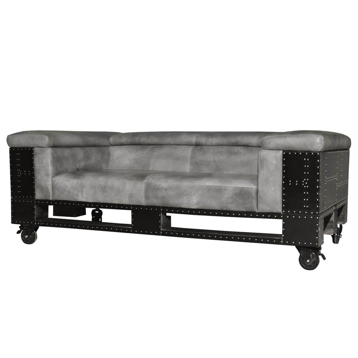 Design Sofa Couch Ledersofa 2 Sitzer Mit Rollen Schwarzblech Echtleder Neu Ebay