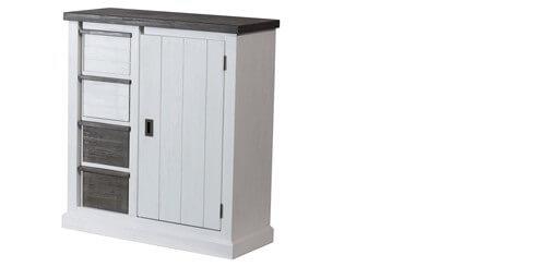 kommode loft in akazie massiv wei braun. Black Bedroom Furniture Sets. Home Design Ideas