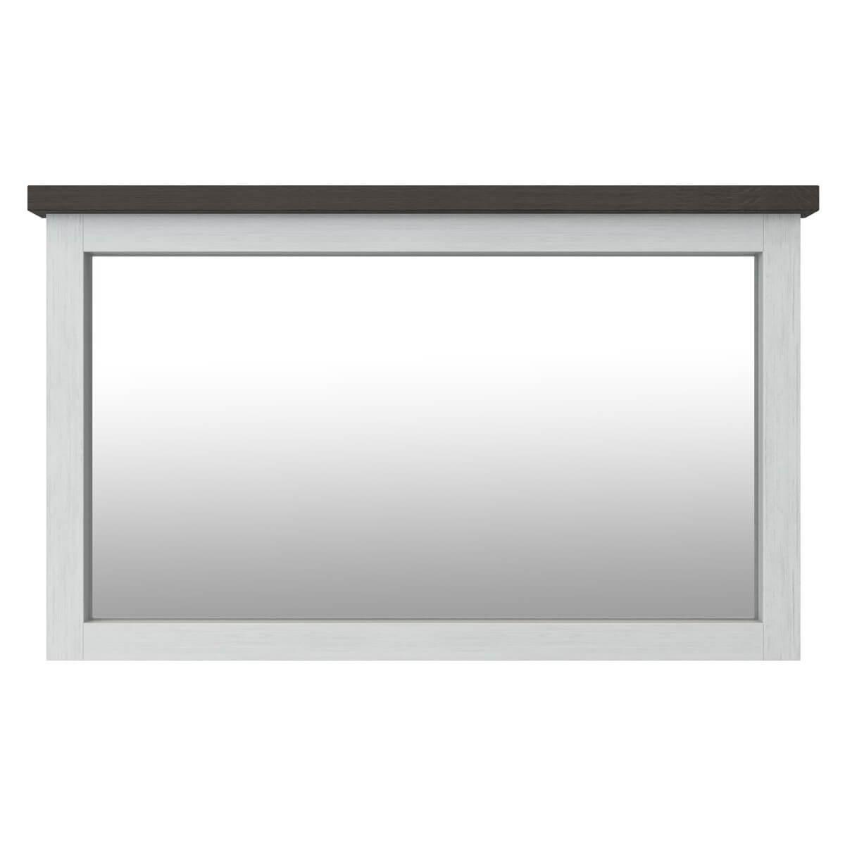 Spiegel Loft in Akazie massiv Weiß / Braun