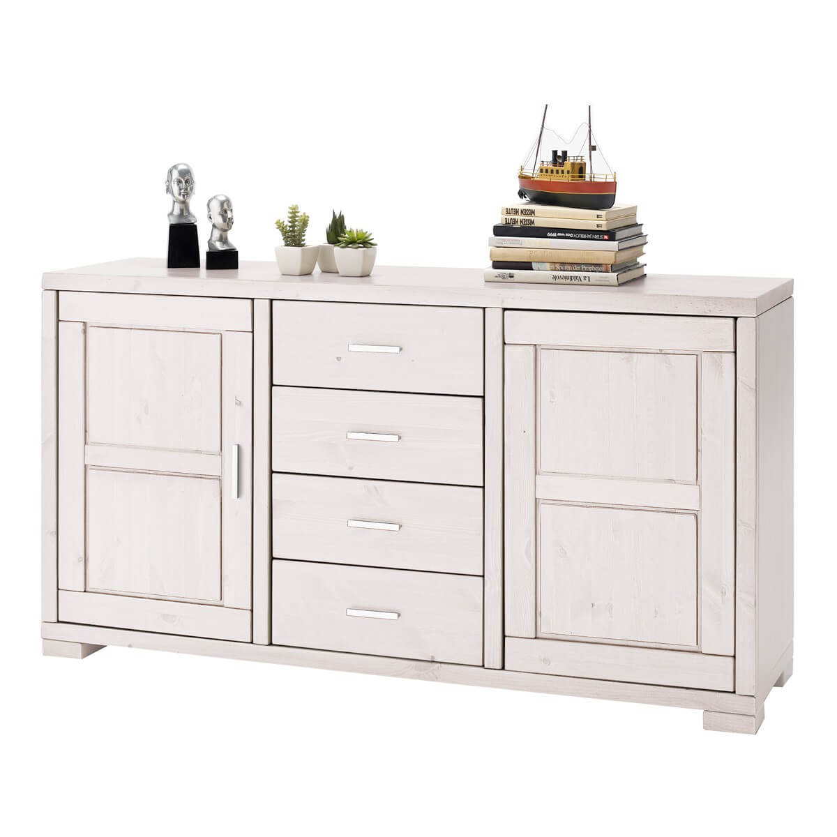 Sideboard madison in kiefer massivholz wei for Sideboard kiefer
