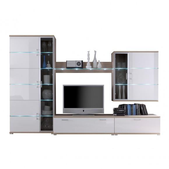 wohnwand cooper in eiche wei hochglanz. Black Bedroom Furniture Sets. Home Design Ideas