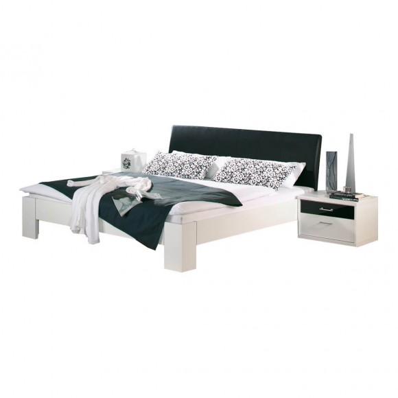 Futonbett Plus 180x200 Weiß / Schwarz + 2 Nachttische