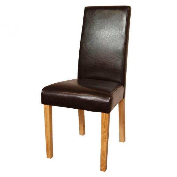 polsterstuhl york 2er set in eiche und kunstleder braun. Black Bedroom Furniture Sets. Home Design Ideas