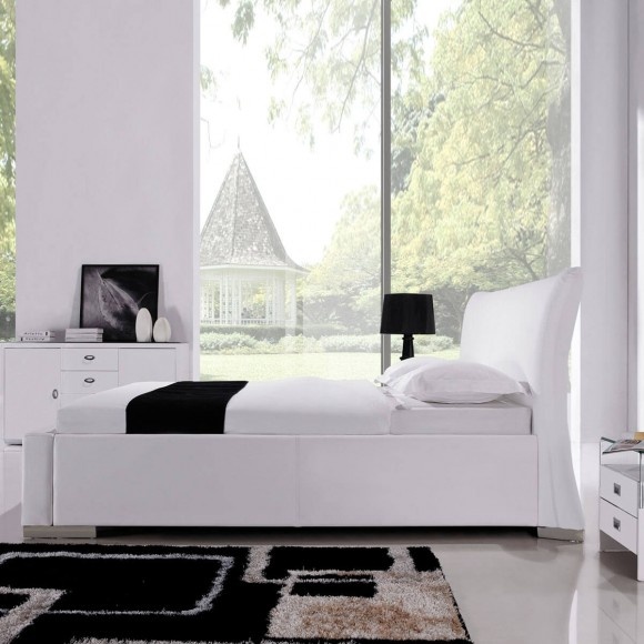 polsterbett ishoj 180x200 in kunstleder wei. Black Bedroom Furniture Sets. Home Design Ideas