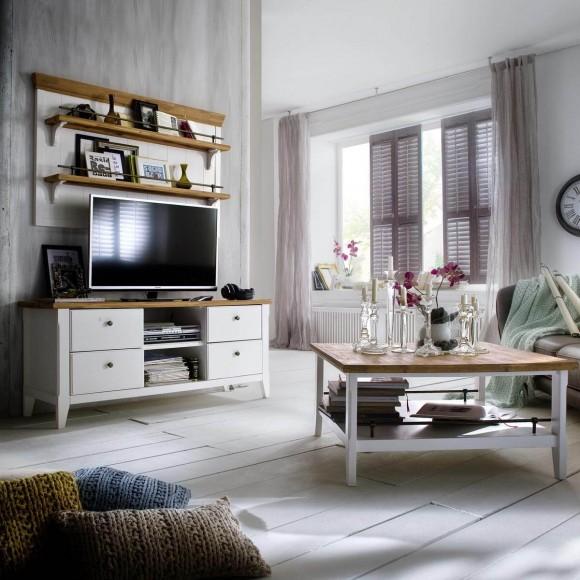 wandregal wandboard regal landhausstil holz akazie wei natur neu ebay. Black Bedroom Furniture Sets. Home Design Ideas