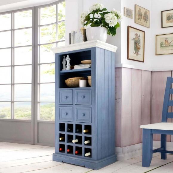 Kommoden Landhausstil Blau : Vitrine Falun mit Weineinsatz in Blau / Absetzung Weiß – Bild 2