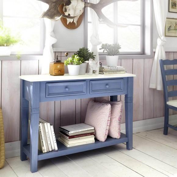 konsolentisch konsole beistelltisch landhausstil holz kiefer blau wei neu ebay. Black Bedroom Furniture Sets. Home Design Ideas