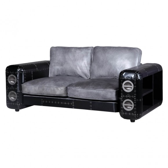 sofa grena 2 sitzer in jeansstoff blau. Black Bedroom Furniture Sets. Home Design Ideas