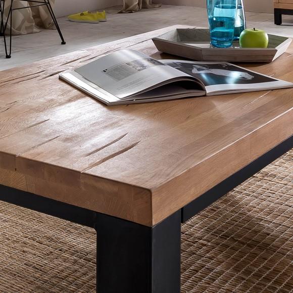 couchtisch xano 120x70 in eiche massiv metall. Black Bedroom Furniture Sets. Home Design Ideas
